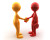 Handshake of two glossy characters